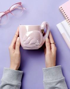 Керамическая кружка с фламинго 3D New Look - Розовый