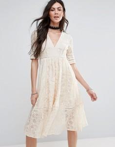 Кружевное платье-трапеция миди Free People Mountain Lauren - Белый