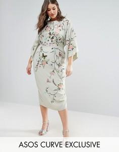 Платье-кимоно миди с вышивкой ASOS CURVE - Зеленый
