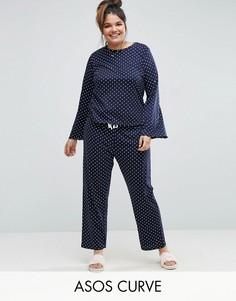 Пижама с лонгсливом в горошек и брюками ASOS CURVE - Темно-синий
