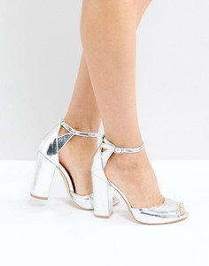 Серебристые босоножки на каблуке с ремешками RAID AJ - Серебряный