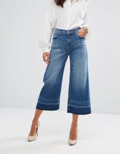 Широкие укороченные джинсы с классической талией и необработанными краями J Brand - Синий