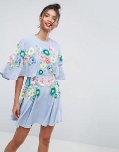 Короткое приталенное платье с 3D отделкой ASOS SALON - Синий