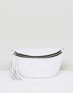 Классическая кожаная сумка-кошелек на пояс ASOS - Белый