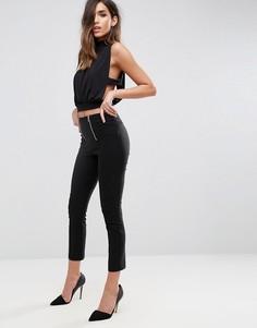 Облегающие брюки с молниями ASOS - Черный
