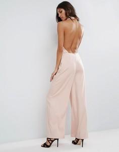Комбинезон с лацканами и открытой спиной ASOS - Розовый