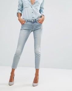 Укороченные джинсы скинни с заниженной талией и потертостями J Brand - Синий