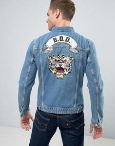 Джинсовая куртка с вышивкой на спине Jack & Jones Intelligence - Синий