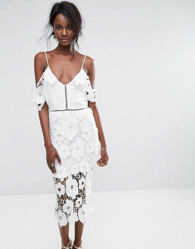 Кружевное платье миди Missguided - Белый