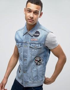 Джинсовая куртка без рукавов с вышивкой на спине Jack & Jones Intelligence - Синий
