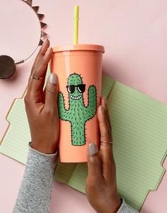 Стакан с соломинкой и рисунком кактуса Sunnylife x Tiffany Cooper - Мульти