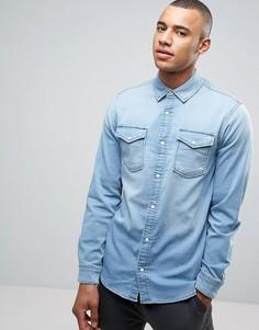 Трикотажная джинсовая рубашка зауженного кроя Jack & Jones Intelligence - Синий