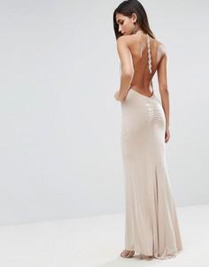 Платье макси с завязкой на шее и оборками ASOS - Розовый