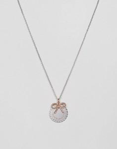 Ожерелье с монетой и бантиком Olivia Burton - Серебряный