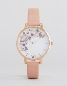 Часы с кожаным ремешком и цветочным принтом Olivia Burton - Розовый