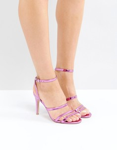 Босоножки с ремешками цвета металлик Faith Disco - Розовый