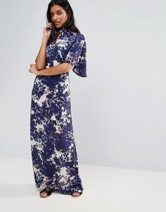 Платье макси с абстрактным принтом и оборками на рукавах Liquorish - Мульти