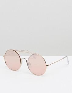 Солнцезащитные очки в круглой оправе с вырезами PrettyLittleThing - Золотой