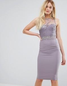Платье миди с вышивкой и кружевной отделкой Little Mistress - Серый