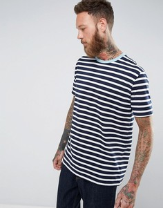 Полосатая футболка с контрастной отделкой ASOS - Темно-синий