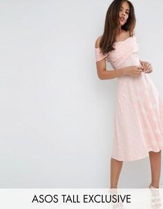 Платье миди в горошек с вырезом лодочкой ASOS TALL - Розовый