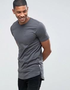 Длинная футболка с удлиненным краем Jack & Jones Core - Серый