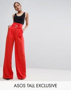 Широкие брюки с присборенной талией и D-образной пряжкой ASOS TALL EXCLUSIVE - Красный