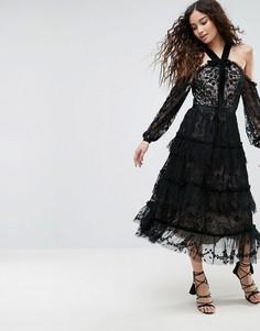 Кружевное платье с открытыми плечами Needle & Thread Primrose - Черный