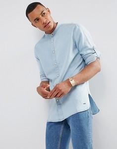 Джинсовая рубашка с воротником на пуговице Esprit - Синий