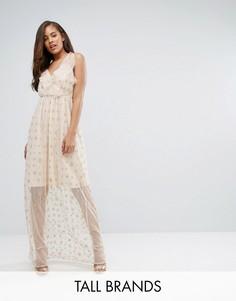 Платье макси с оборкой и принтом True Decadence Tall - Розовый