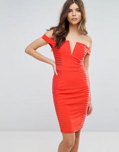 Облегающее платье со спущенными плечами и разрезами Parisian - Оранжевый
