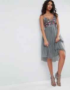 Тюлевое платье миди с вышивкой Needle & Thread - Синий