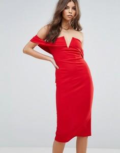 Платье-футляр с открытыми плечами Parisian - Красный