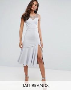 Платье миди с оборкой по краю и отделкой бисером Little Mistress Tall - Серый