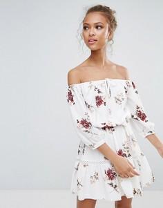 Платье с цветочным принтом, открытыми плечами и завязкой Parisian - Белый