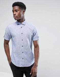 Хлопковая рубашка с коротким рукавом Esprit - Темно-синий