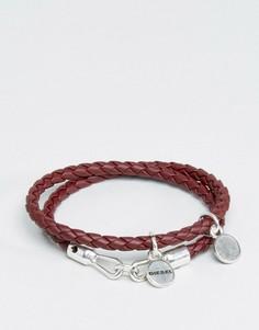 Бордовый кожаный браслет Diesel A-Lucy - Красный