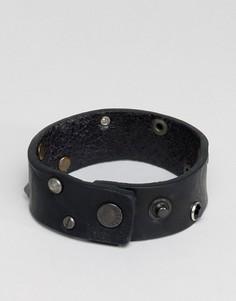 Черный кожаный браслет-манжета Diesel A-Whyse - Черный