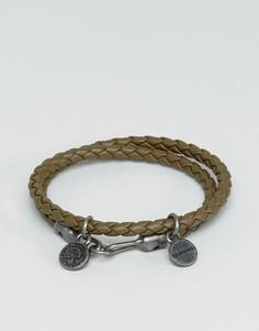 Оливковый кожаный браслет Diesel A-Lucy - Зеленый