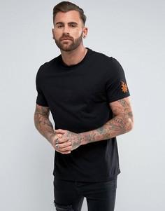 Удлиненная футболка с вышивкой на рукавах ASOS - Черный