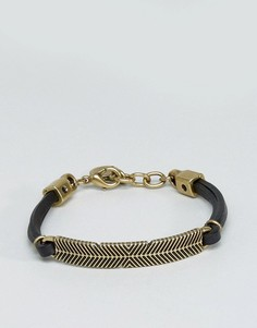 Черно-золотистый кожаный браслет Diesel A-Plume - Черный