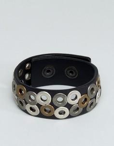 Черный браслет с заклепками Diesel A-Quirk - Черный
