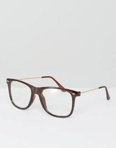 Очки с прозрачными прямоугольными стеклами 7X - Коричневый