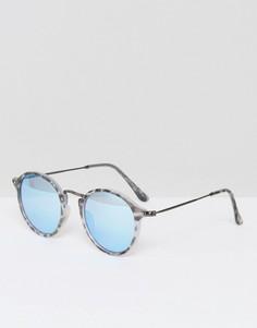 Круглые солнцезащитные очки в серой черепаховой оправе Selected Homme - Серый