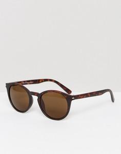 Круглые солнцезащитные очки в черепаховой оправе Selected Homme - Коричневый