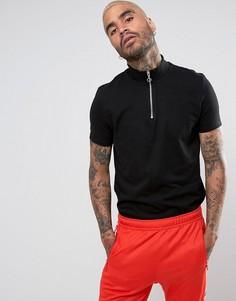 Черная футболка с высоким воротом на молнии ASOS - Черный
