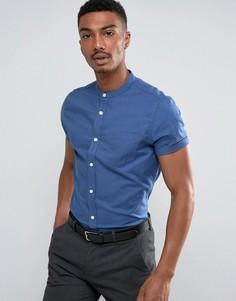 Зауженная оксфордская рубашка с короткими рукавами Burton Menswear - Синий