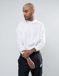 Белая оversize-футболка с воротником-стойкой и укороченными рукавами ASOS - Белый
