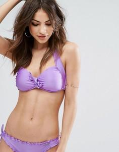 Бикини-топ с завязками и лямкой через шею Seafolly Shimmer - Фиолетовый
