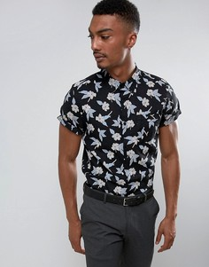 Облегающая рубашка с короткими рукавами и цветочным принтом Burton Menswear - Черный